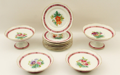 12 PC. FRENCH PORCELAIN PARTIAL DESSERT SERVICE