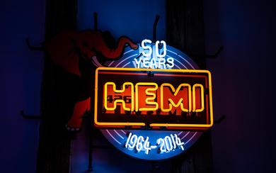 A 50 Years HEMI 426 1964-2014 neon sign