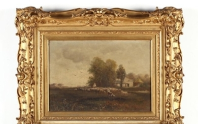 An Antique English School Painting of a Shepherd with Flock