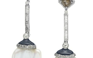 Pair of Baroque Pearl and Diamond Earrings