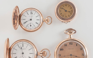Four 14kt Gold Waltham Pocket Watches
