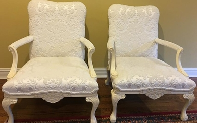 Pair French Style Custom Upholstered Arm Chairs
