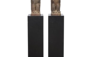 Pair of painted cast iron owl form architectural elements...