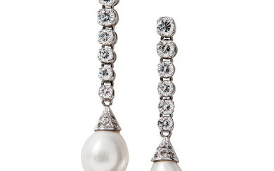 Platinum, Cultured Pearl, and Diamond Earrings