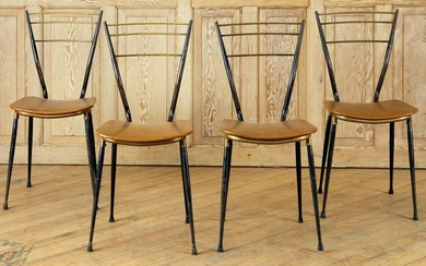 SET 4 IRON BRASS SIDE CHAIRS UPHOLSTERED C.1950
