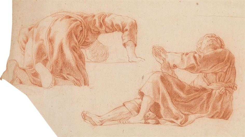 FRENCH SCHOOL, 17TH CENTURY Studies of Kneeling and Seated Figures.