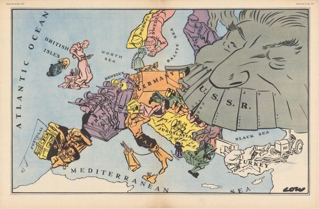 """[lot of 2 - Satirical Map of Europe with Article] ""Maps with a Moral"""""