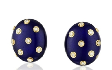 Andrew Clunn Blue Enamel and Diamond Earclips