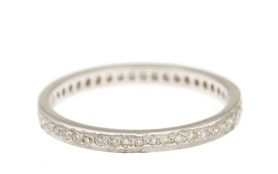 A diamond ring set with numerous brilliant-cut diamonds, mounted in 14k white gold. Size 53.