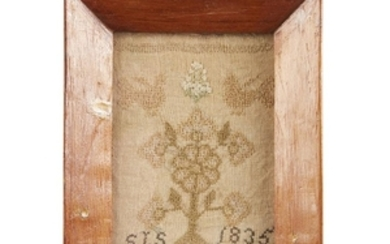 """A needlework sampler inscribed and dated """"STS 1835"""" With..."""