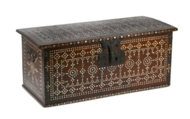 A WOODEN MOTHER-OF-PEARL-INLAID WRITING BOX India, late