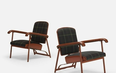 Jacques Adnet, lounge chairs, pair