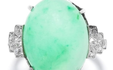 JADE AND DIAMOND DRESS RING in white gold or platinum,