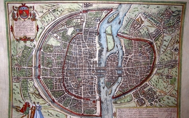 G. Braun & F. Hogenberg: MAP OF PARIS, 1575