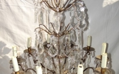 FRENCH 10 LIGHT CUT CRYSTAL AND BRONZE CHANDELIER