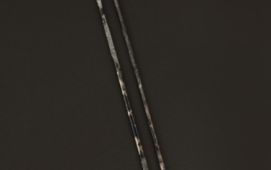 A PAIR OF SILVERY METAL CHOPSTICKS, TANG DYNASTY OR LATER