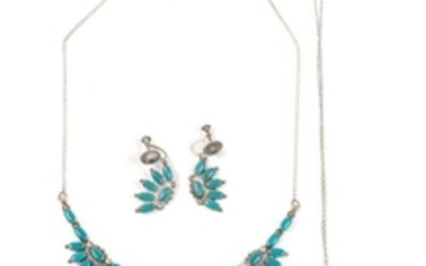 Southwestern Silver and Turquoise Necklace