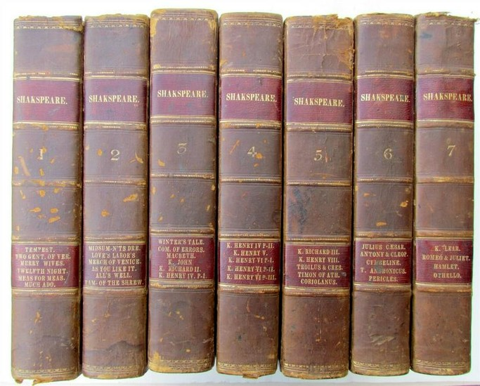 7 volumes set SHAKSPEARE DRAMATIC WORKS 1841 ANTIQUE