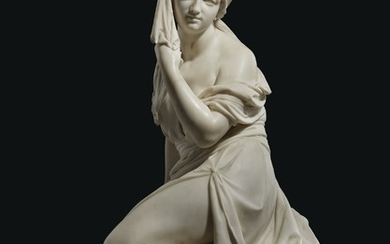 A WHITE MARBLE FIGURE OF AN ODALISQUE, FRENCH OR ITALIAN, SECOND QUARTER 19TH CENTURY