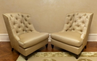 Baker - Tufted Upholstered Chairs - Pair