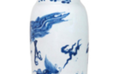 A blue and white 'Qilin and Phoenix' sleeve vase, Rolwagen