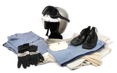 A complete racing outfit worn by W J O Blenkinsop, Lotus 7 BMC driver 1968,