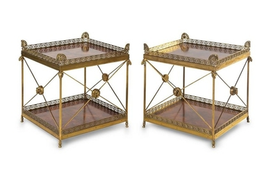 A Pair of Empire Style Gilt Bronze Mounted Side Tables