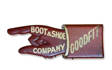 FINE AND RARE CARVED AND RED PAINTED WOODEN COBBLER'S TRADE SIGN, CIRCA 1880