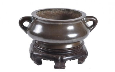 A large Chinese bronze bombe censer