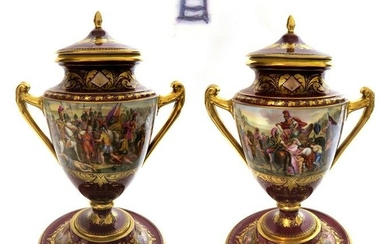 Magnificent Pair of 19th C. Royal Vienna Vases