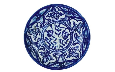 Plate Soup plate with sunken body; raised ring support. Decoration...