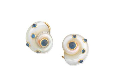 A pair of sapphire shell earclips,