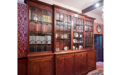 A Scottish George III mahogany breakfront bookcase