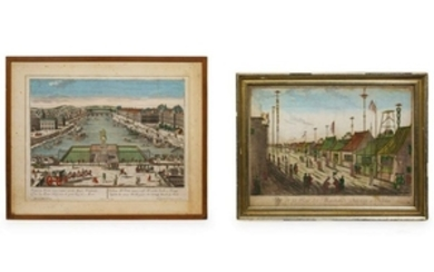Two Handcolored Engravings Larger 12 3/8 x 17