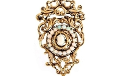 Victorian style Opal and 14K Brooch