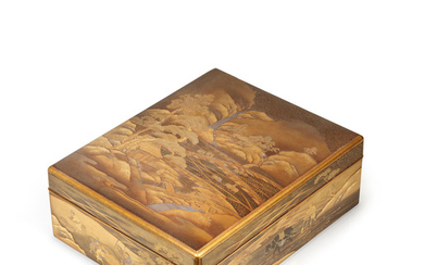 A gold-lacquer Ryoshibako (document box) and cover