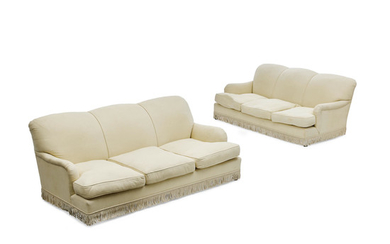 A pair of Cream Upholstered Sofas