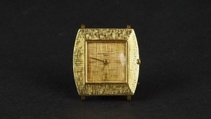 MID SIZE VACHERON & CONSTANTIN 18ct GOLD VINTAGE WRISTWATCH, square linen two tone gold dial with gold hour markers and hands,...