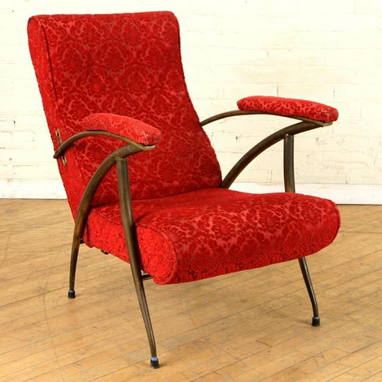 RECLINING ITALIAN UPHOLSTERED ARM CHAIR C.1950