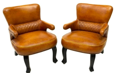 (2) ENGLISH LEATHER CLUB CHAIRS