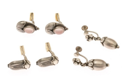 Georg Jensen: Three pair of sterling silver ear clips/screws comprising Heritage ear clips from 2003 and 2007 and a pair of ear screws. Georg Jensen after 1945