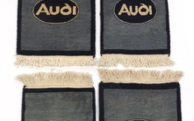 Four Hand-Knotted Silver/Navy Blue Audi Car Mats