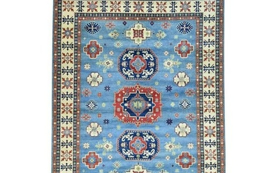 Hand-Knotted Pure Wool Kazak Tribal Design Oriental Rug