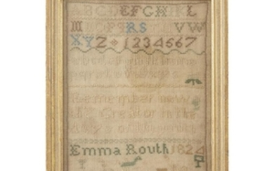 """A needlework sampler signed and dated, """"Emma Routh 1824""""..."""