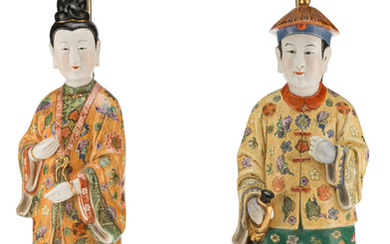 A Pair of Chinese Porcelain Figural Lamps (20th century)