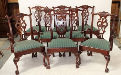 Lot of 8 Century Chippendale style dining chairs
