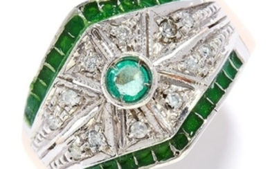 EMERALD AND DIAMOND DRESS RING in yellow gold, in Art