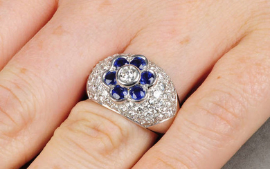 An 18ct gold sapphire and diamond floral dress ring.