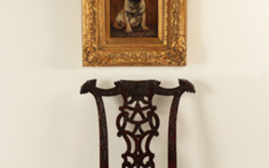 MISC. 2 PC. LOT; SIGNED OIL ON PANEL, AND CHILD'S CHAIR