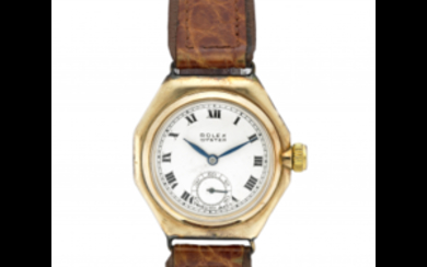 ROLEX OYSTER Gent's 9K gold wristwatch, case with inscription...